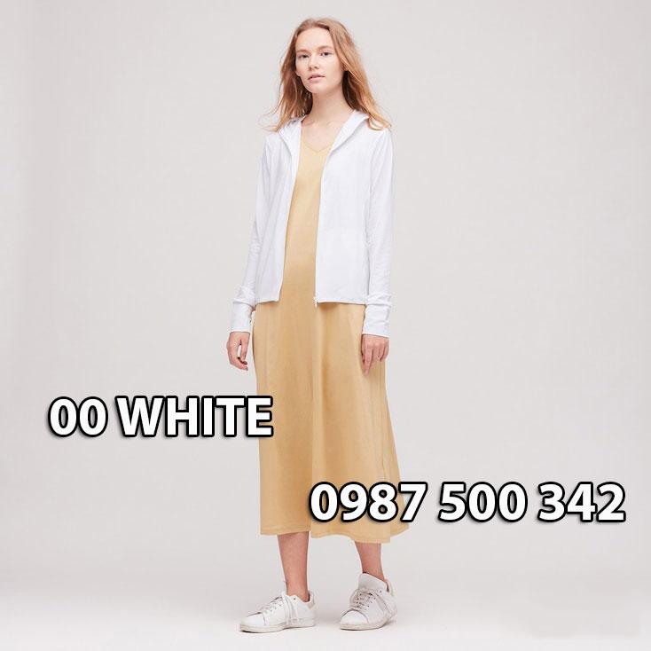 Áo chống nắng Uniqlo Airism Nhật Bản mẫu mới 2020 mã 422807 màu trắng 00 WHITE