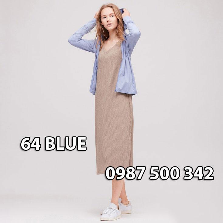 Áo chống nắng Uniqlo Airism Nhật Bản mẫu mới 2020 mã 422807 màu xanh biển 64 BLUE