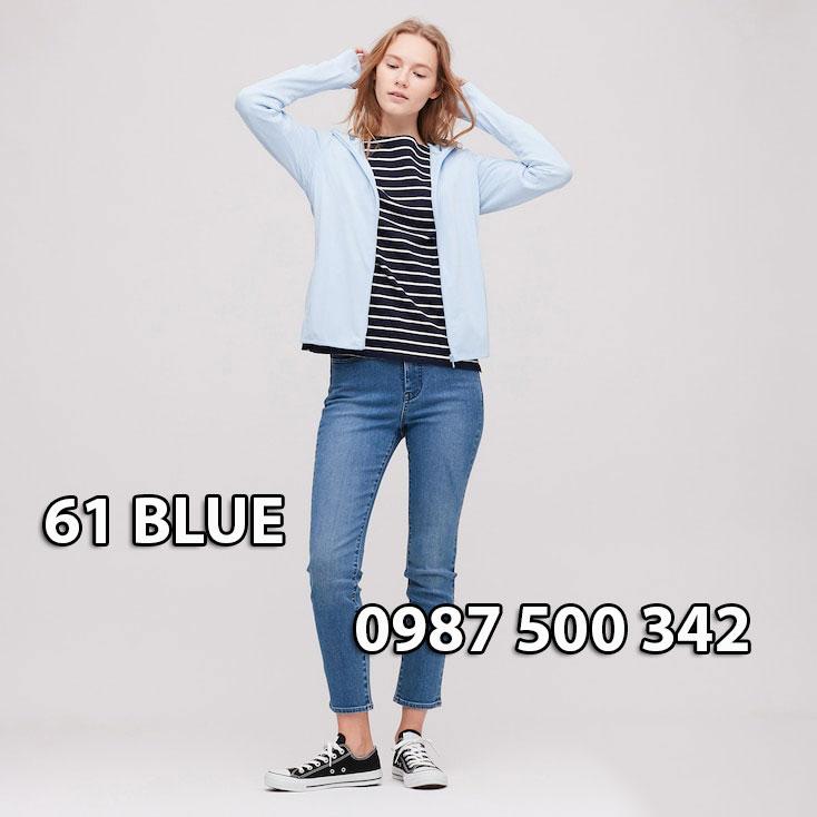 Áo chống nắng Uniqlo Airism Nhật Bản mẫu mới 2020 mã 422807 màu xanh da trời 61 BLUE