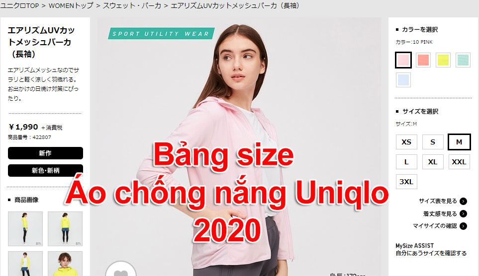 Bảng size áo chống nắng UV Uniqlo 2020