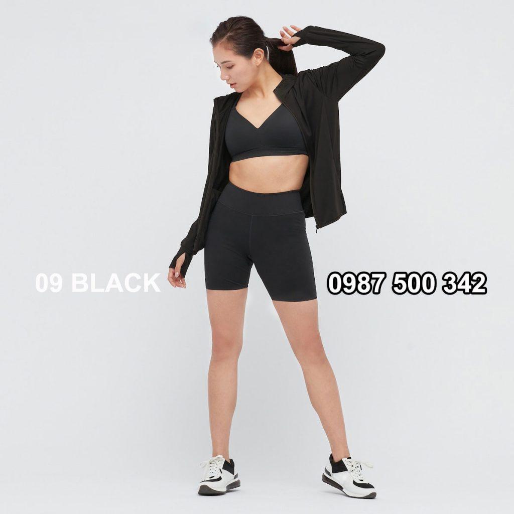 Áo chống nắng nữ AIRism hoodie chống UV vải mắt lưới mẫu mới 2021 433703 màu đen 09 BLACK