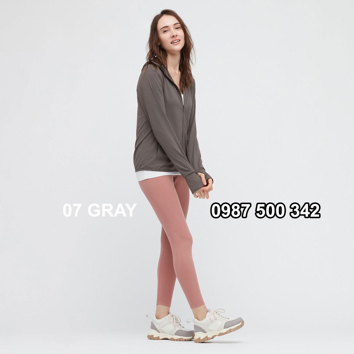 Áo chống nắng nữ AIRism hoodie chống UV vải mắt lưới mẫu mới 2021 433703 màu ghi đậm 07 GRAY