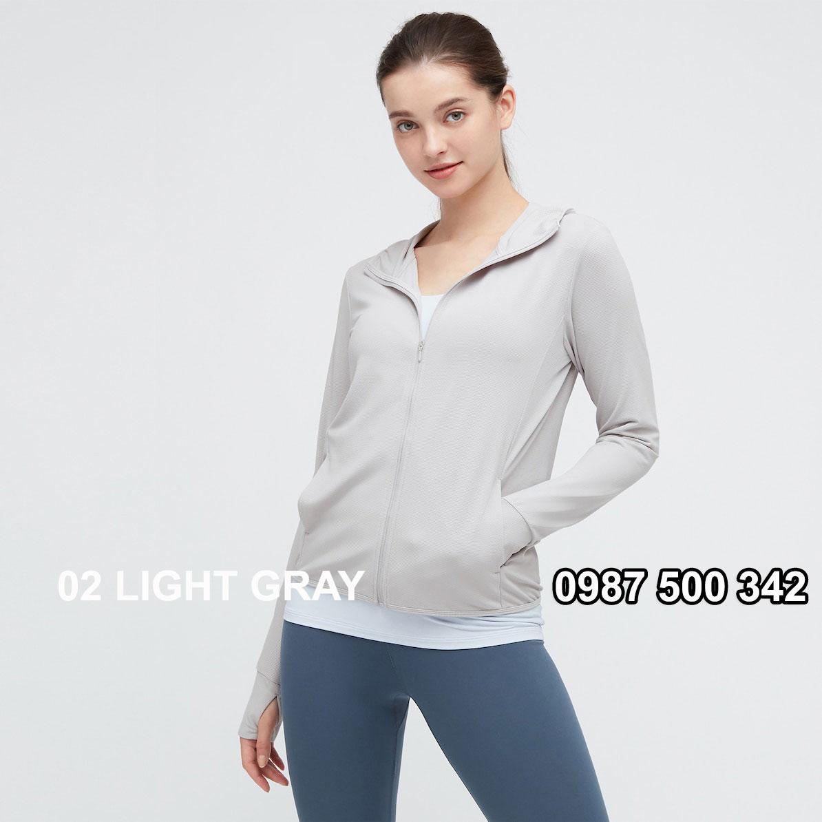 Áo chống nắng nữ AIRism hoodie chống UV vải mắt lưới mẫu mới 2021 433703 màu ghi nhạt 02 LIGHT GRAY