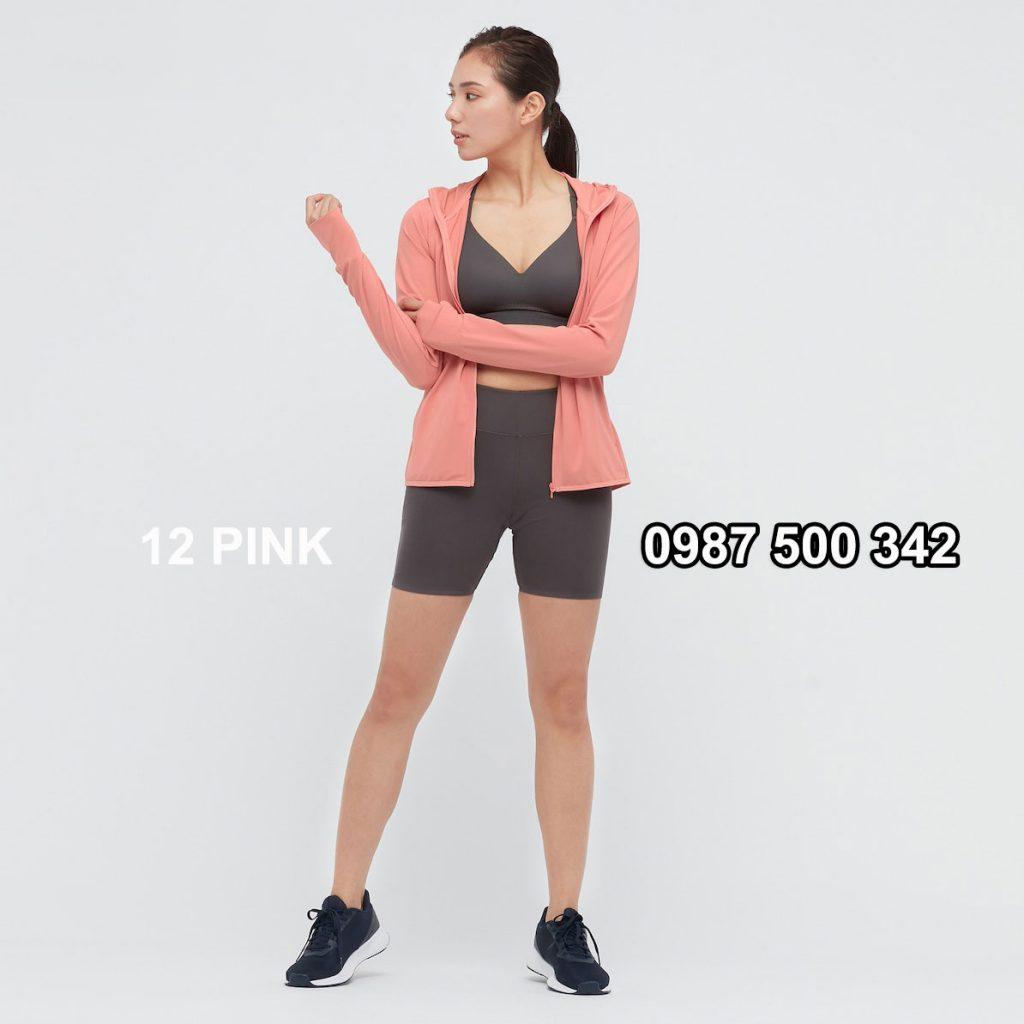 Áo chống nắng nữ AIRism hoodie chống UV vải mắt lưới mẫu mới 2021 433703 màu hồng cam 12 PINK