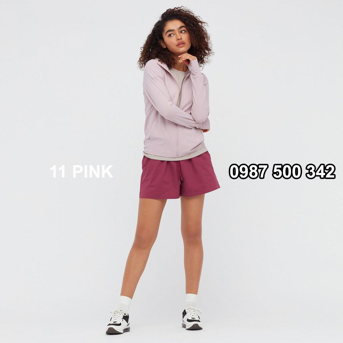 Áo chống nắng nữ AIRism hoodie chống UV vải mắt lưới mẫu mới 2021 mã 433703 màu hồng nhạt 11 PINK