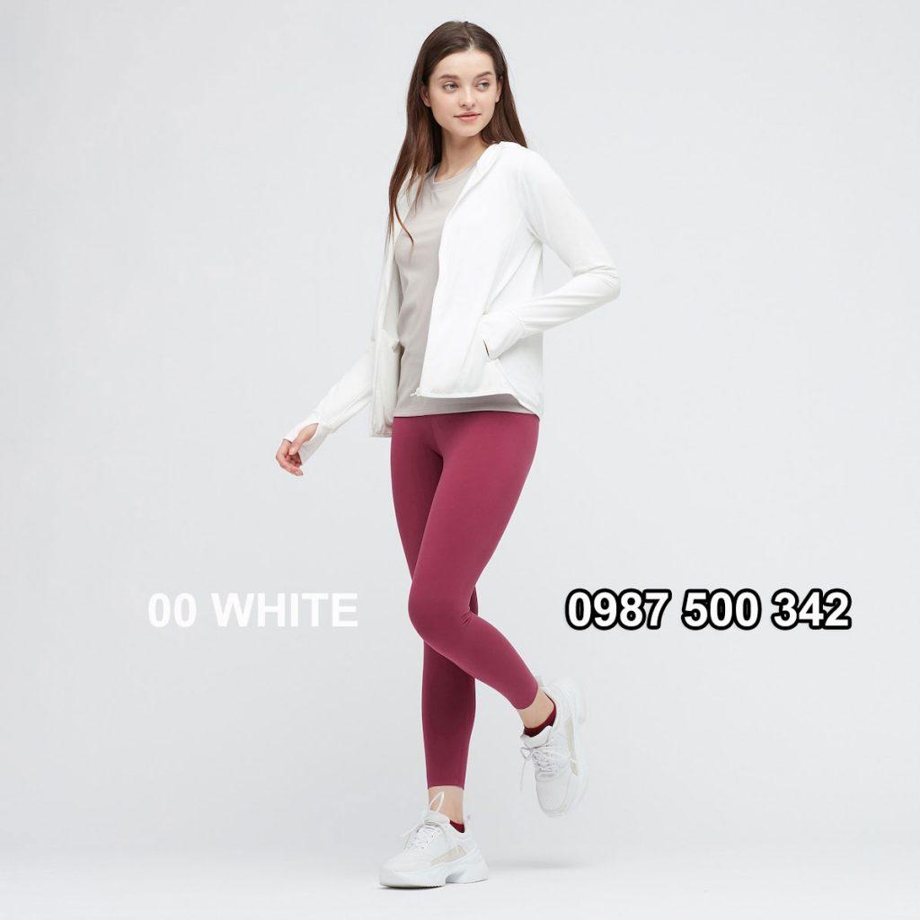 Áo chống nắng nữ AIRism hoodie chống UV vải mắt lưới mẫu mới 2021 mã 433703 màu trắng 00 WHITE