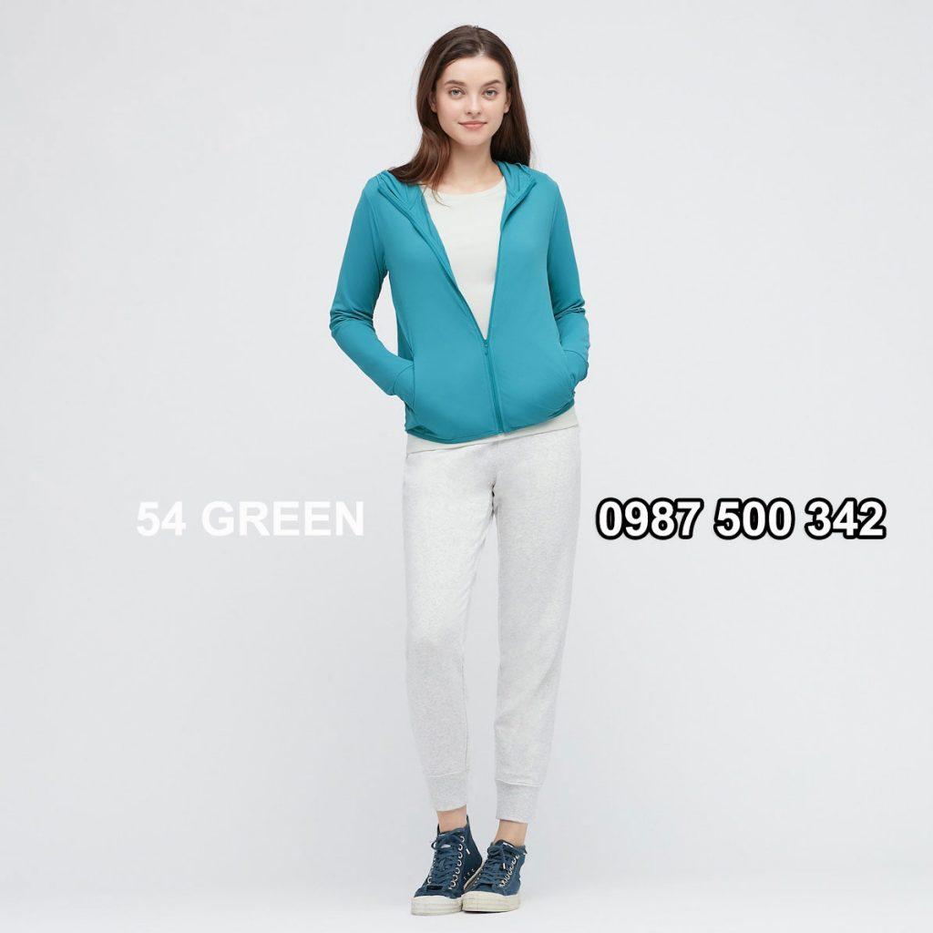 Áo chống nắng nữ AIRism hoodie chống UV vải mắt lưới mẫu mới 2021 mã 433703 màu xanh biển 54 GREEN