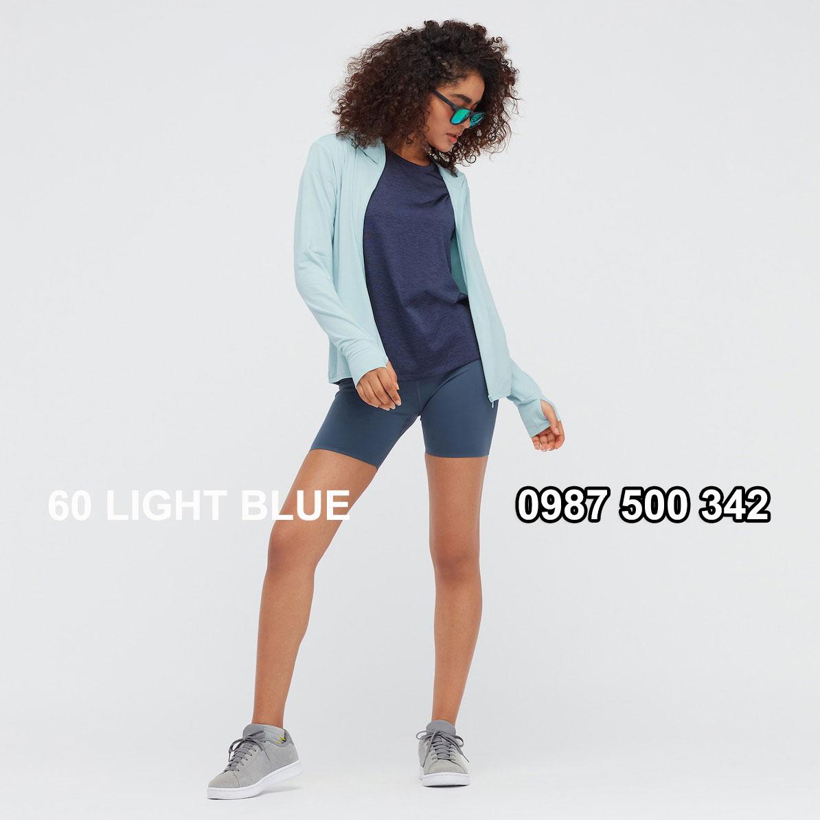 Áo chống nắng nữ AIRism hoodie chống UV vải mắt lưới mẫu mới 2021 mã 433703 màu xanh da trời 60 LIGHT BLUE