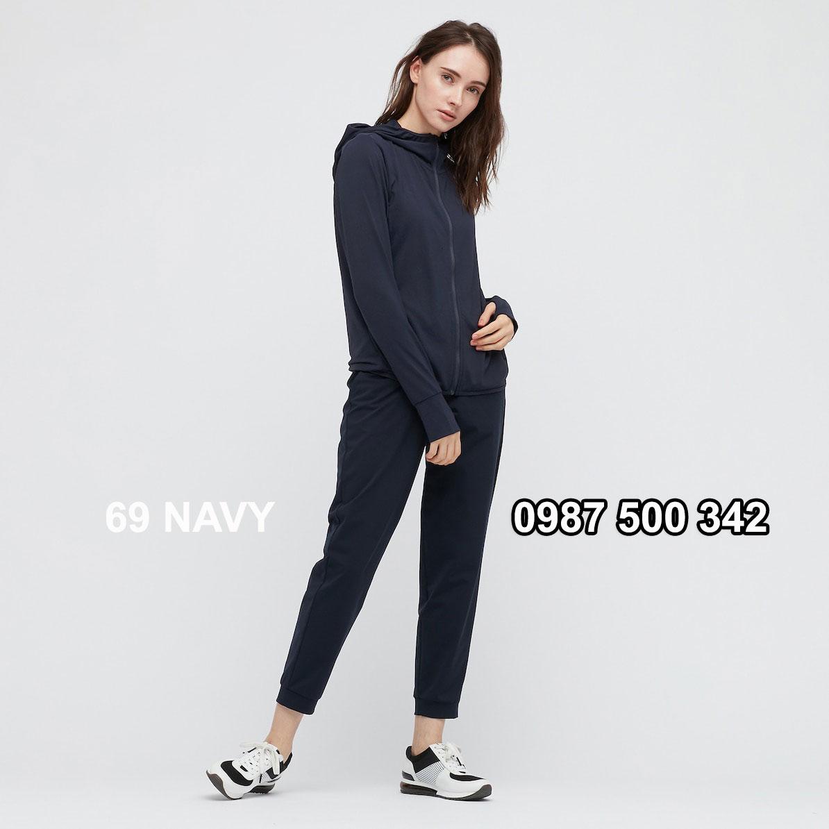 Áo chống nắng nữ AIRism hoodie chống UV vải mắt lưới mẫu mới 2021 mã 433703 màu xanh đen 69 NAVY