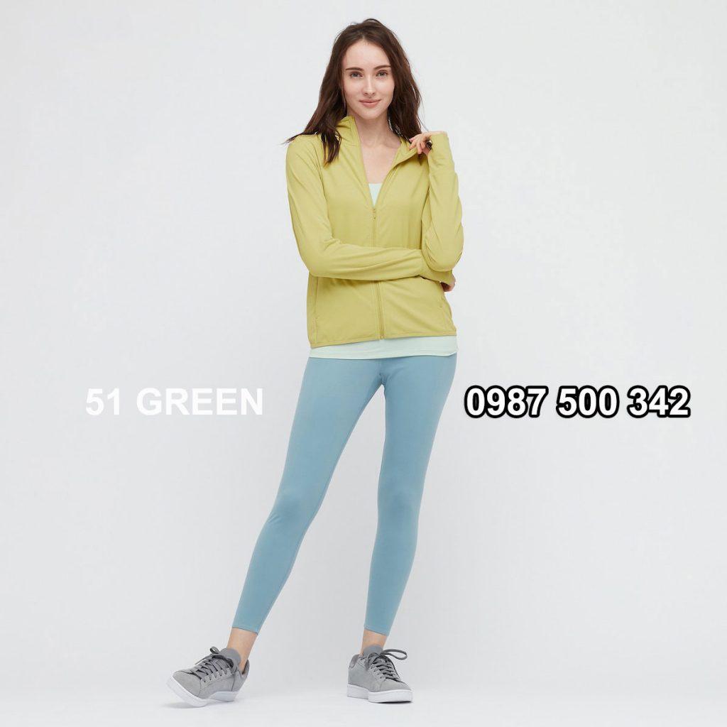 Áo chống nắng nữ AIRism hoodie chống UV vải mắt lưới mẫu mới 2021 mã 433703 màu xanh úa 51 GREEN