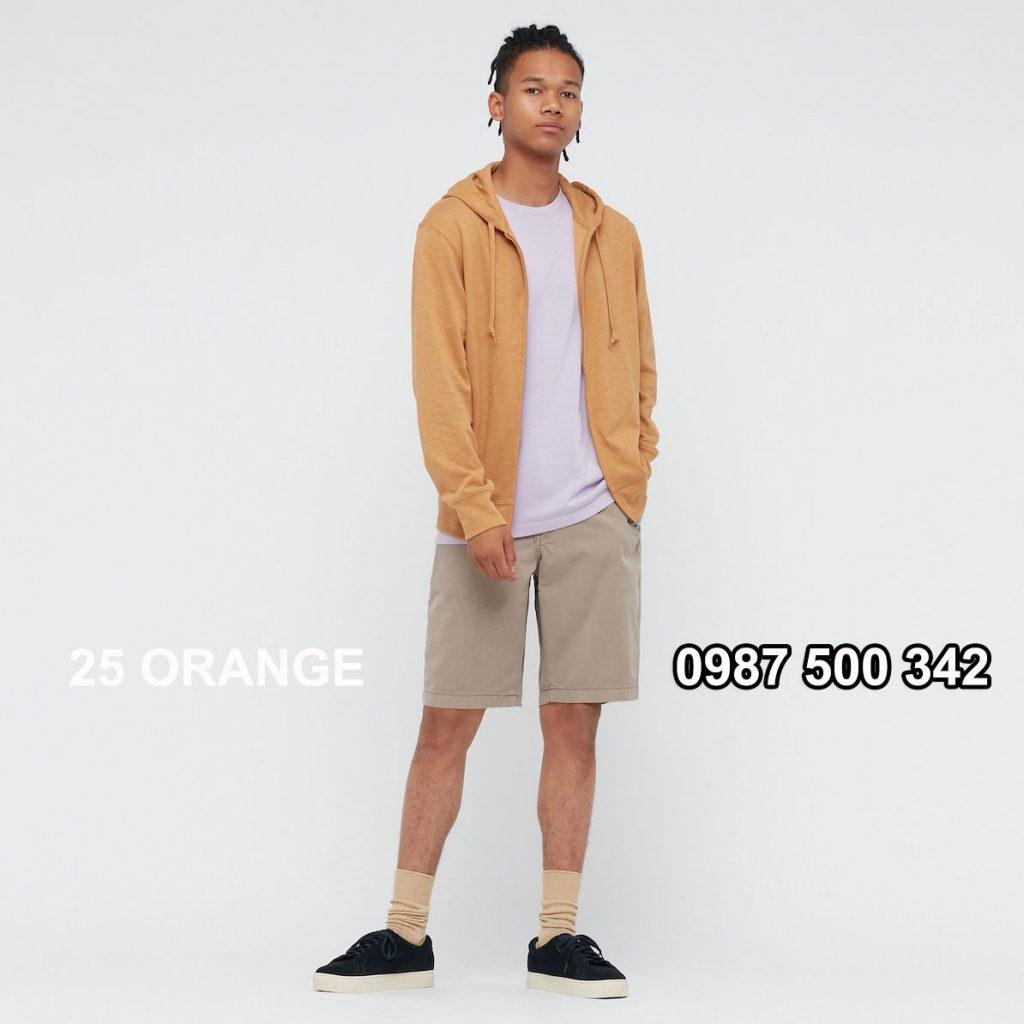Áo chống nắng nam Uniqlo AiRism 2021 áo màu cam nhạt