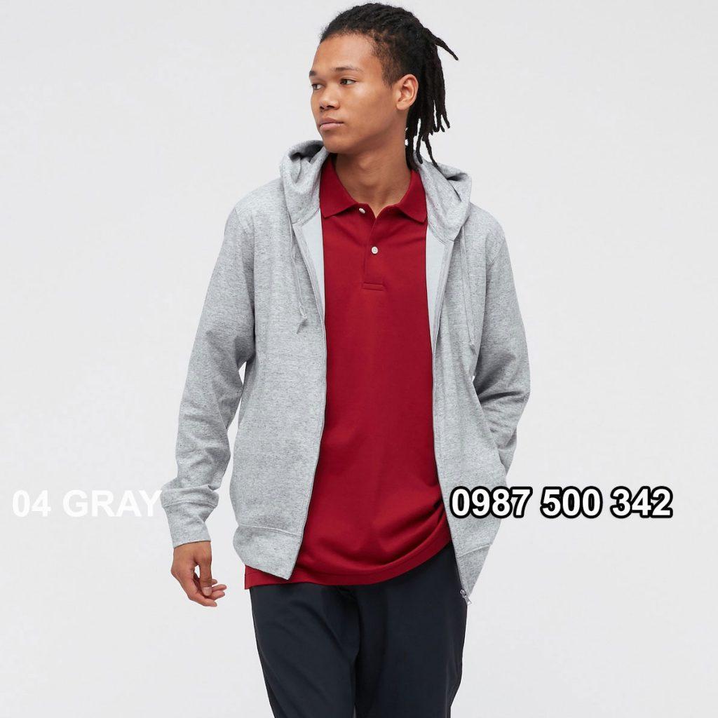 Áo chống nắng nam Uniqlo AiRism 2021 áo màu ghi xám