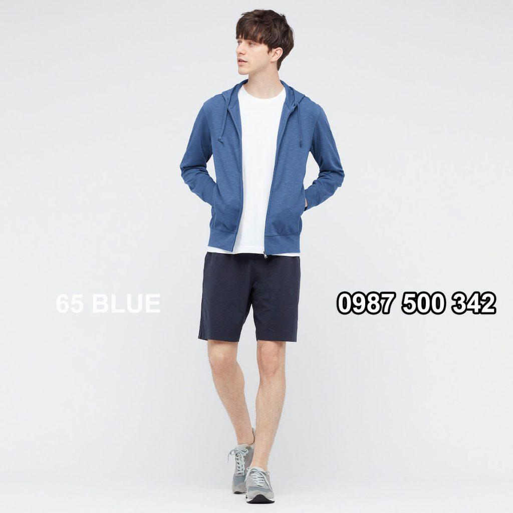 Áo chống nắng nam Uniqlo AiRism 2021 áo màu xanh biển